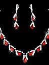 meirui dammode lysande smycken inläggningar strass örhängen och halsband som