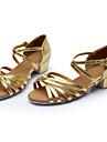 Chaussures de danse(Noir Marron Argent Or Léopard Autre) -Personnalisables-Talon Bottier-Soie Cuir-Latine Salon
