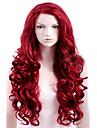 Capless röd extra lång hög kvalitet naturlig lockig syntetisk peruk