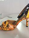 Chaussures de danse(Jaune Violet) -Personnalisables-Talon Bottier-Similicuir-Latine