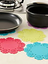 "Anti Slip Stor Storlek Flower Shape Mat, Silicon 8 ""x8"" x0.1 ""(Random Color)"
