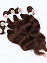 """evet brasilianskt hår jungfru väva färgen # 4 mörkbruna kroppen våg människohår knippen 2x12 """", 2x14"""", 2x16 """"200g / lot hår set"""