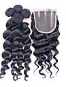 Trame cheveux avec fermeture Cheveux Péruviens Ondulation Lâche 12 mois 4 Pièces tissages de cheveux