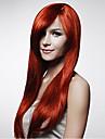 ny cosplaya lång mörkröd blandat rakt mänsklig tillverkning hår peruk