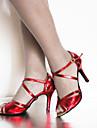 Chaussures de danse(Bleu Rouge Or) -Personnalisables-Talon Aiguille-Daim Similicuir-Latine Baskets de Danse Salon