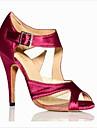 Chaussures de danse(Bleu Rouge) -Personnalisables-Talon Bobine-Satin-Salsa