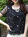 T-Shirts ( Mousseline/Viscose ) Informel Rond à Manches courtes pour Femme