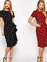 Robes ( Coton / Polyester ) Informel / Soirée / Travail Rond à Manches courtes pour Femme