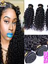 """3pcs / lot 8 """"-26"""" non transformés péruvien cheveux vierges naturelle couleur noire crépus bouclés armure de cheveux humains."""