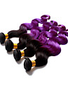 3pcs / lot grossist !! billig 100% brasilianska mänskliga hårförlängningar förkroppsligar vinkar färgen # 1b lila två ombre lila hår väva