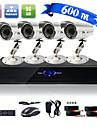 Otroligt lågt pris - fyra kanalers övervakningskamera (fyra vattentäta utomhuskameror 600 TVL, färgkameror)