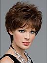 kvinnor fina korta naturliga raka peruk elegant dam bruna syntetiska peruker