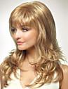 Capless långa stil kvinnor naturliga friskt hår våg flicka lockigt blond peruker