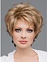 Capless kort hög kvalitet syntetisk gyllene blonda lockiga hår peruker sida Hjälp