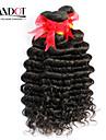"""4st mycket 12 """"-30"""" obearbetade råvaror brasilianska djupt våg lockiga jungfru hårwefts naturliga svart remy människohår väva buntar"""