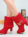 Chaussures Femme - Décontracté - Noir / Rouge - Gros Talon - Confort - Bottes - Similicuir