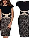 Robes ( Coton mélangé/Polyester ) Vintage/Sexy/Bodycon/Soirée/Travail Rond à Manches courtes pour Femme