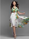 print floral rochie midi plisata femei