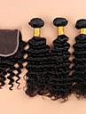 7a grade opressade brasilianska djupt lockigt nedläggning brasilianska lockigt jungfru hår buntar med nedläggningar spets