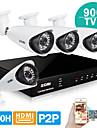 système de caméra de sécurité zosi® 4 canaux de vision h.264 HDMI temps réel DVR 960H 900tvl de nuit 100ft de CCTV en plein air