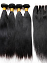 Trame cheveux avec fermeture Cheveux Péruviens Droit 18 Mois 5 Pièces tissages de cheveux