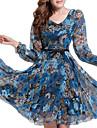 femei, plus dimensiune rochie floral, imprimare Casual