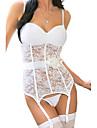 alb bustiera dantelă elastic pentru femei cu portjartier