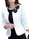 Dame Jachetă Plus SizeMată Manșon Lung Primăvară / ToamnăRoz / Alb / Negru Mediu Poliester / Altele