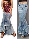 femei de moda boem de epocă ocazional blugi fusta maxi