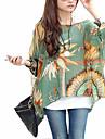 Femei În X Bluză Casul/Zilnic Simplu(ă) / Boho,Imprimeu ¾ Manșon Vară-Multi-color Subțire Poliester