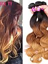 """3 st / lot 16 """"-24"""" 7a 3t peruanska jungfru hår vågigt hårförlängningar 100% obearbetade remy ombre hår väver"""