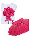 Fata lui Roșu Floral Bumbac Vară / Primăvară / Toamnă Roșu
