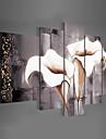 HANDMÅLAD Blommig/Botanisk Alla Form,Klassisk Moderna Traditionellt Fem paneler Kanvas Hang målad oljemålning For Hem-dekoration