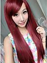 cosplay stil fuxia lång rak syntheic peruk
