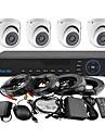 yanse® 4ch 960h CCTV dvr kit ir färg vattentät domekamera övervakningskameror systemet 1000tvl 711cf04