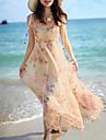 rochie de imprimare, plaja, cutat drăguț femei
