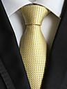 Lumina de aur verificate jacquard țesute cravată pentru bărbați cravată