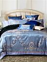 100% Coton & soie bleue rome couvercle jacquard de style de couette Set 4 pcs pleine taille queen