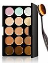 15 färger palett kontur ansiktskräm makeup concealer + oval makeup borste underlagskräm verktyg