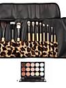 12PCS Ensemble de brosse à maquillage Poignée blanche Paquet Leopard & 15 Correcteur de couleur