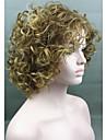 dammode guld blonda mix kort lockigt syntetiska peruker för kvinnor