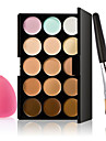 15 färger palett kontur ansiktskräm makeup concealer + svamp puff puderborste