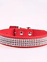 Hundar Halsband Justerbara/Infällbar / Bergkristall Röd / Svart / Blå / Rosa / Ros PU Läder