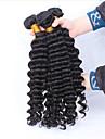 """3 st lot 12 """"-30"""" obearbetade råvaror peruanska djupa våg lockiga jungfru hårwefts naturligt svart remy människohår väva buntar"""