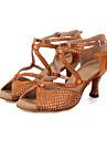 Chaussures de danse(Noir Marron Gris) -Personnalisables-Talon Bobine-Satin-Latine