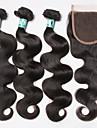 Hår Inslag med Stängning Brasilianskt hår Kroppsvågor 3 delar hår väver