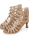 Chaussures de danse(Noir Rouge Or) -Personnalisables-Talon Bobine-Paillette Brillante Synthétique-Salsa