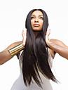 Capless svart färg lång längd högkvalitativa naturliga rakt hår syntetisk peruk