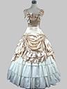 Beige, ärmlös och golvlång lolitaklänning i prinsesstil av satäng och bomull