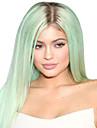 populär! högsta kvalitet ljusgrön färg långa raka syntetiska peruker